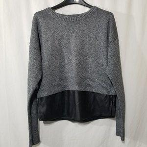 Banana Republic gray cotton & faux leather sweater